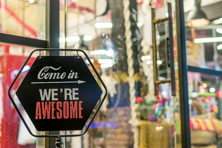 Come in, we're awesome sign